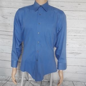 GEOFFREY BEENE: Blue Pin Striped Button Down Shirt